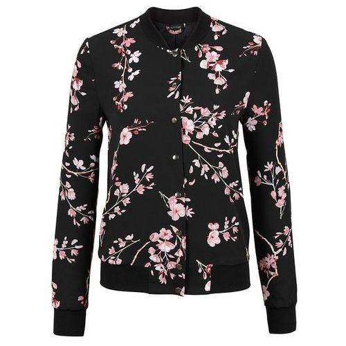 Must Have: kurtka bomberka bonprix czarno-jasnoróżowy w kwiaty, kolor czarny