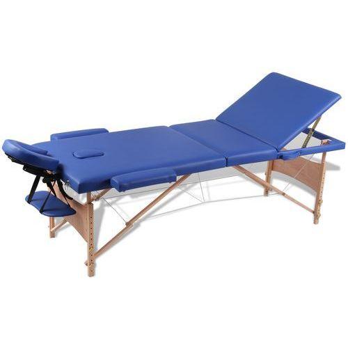 vidaXL Niebieski składany stół do masażu 3 strefy z drewnianą ramą (artykuł terapeutyczny)