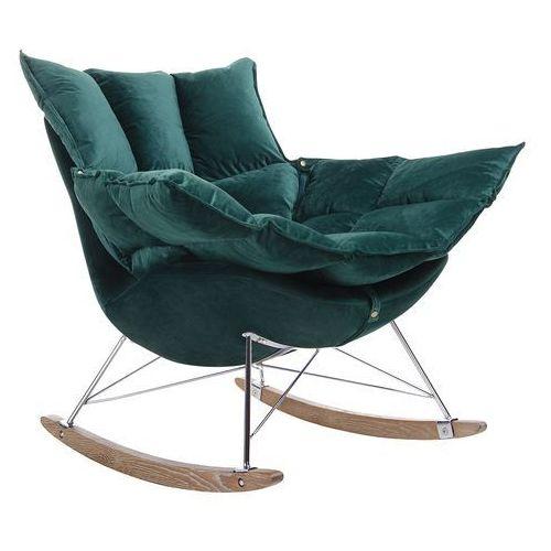King home Fotel bujany swing velvet ciemny zielony - welur, stal chromowana, drewno dębowe
