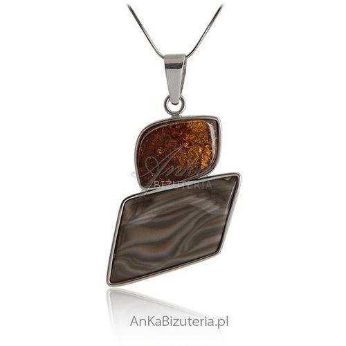 Zawieszka srebrna krzemień pasiasty z bursztynem ze sklepu AnKa Biżuteria