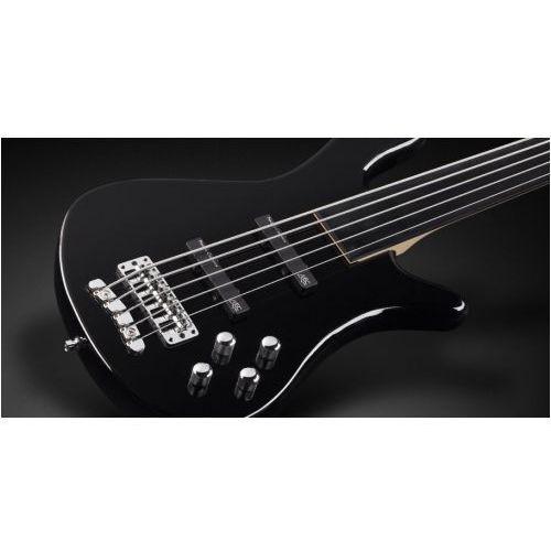 Rockbass streamer lx 5-str. solid black high polish, fretless gitara basowa
