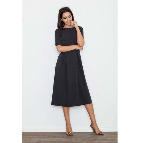 Czarna Sukienka Elegancka Wizytowa Midi, w 4 rozmiarach