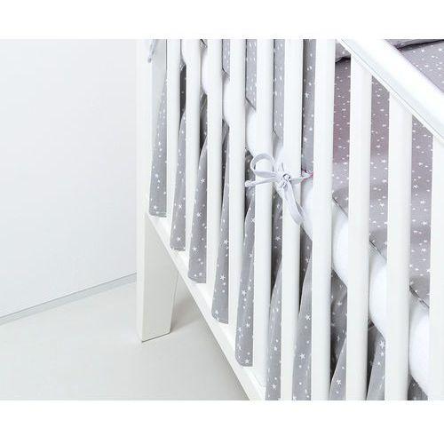 Mamo-tato falbanka do łóżeczka mini gwiazdki białe na szarym