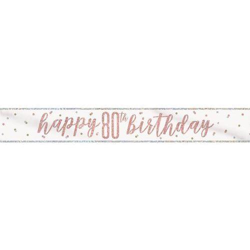 Unique Baner happy birthday różowe złoto na 80 urodziny - 274 cm - 1 szt.