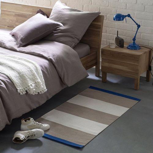 Dywanik przed łóżko, tkany z kawałków materiału, w paski, Blut: - oferta [05ee2a70f7a144f2]