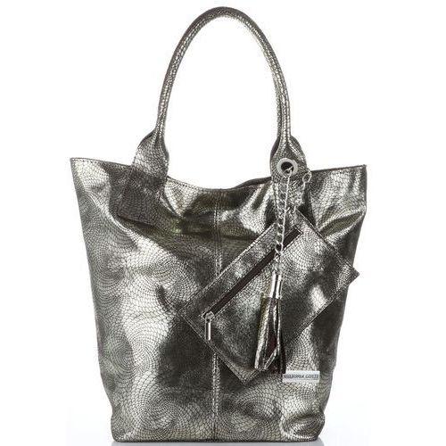 054d5d6bef8a6 Włoskie torebki skórzane shopperbag xl z etui firmy czekoladowe ze złotym  (kolory) marki Vittoria gotti 191