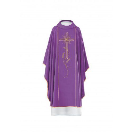 Ornat haftowany - symbol IHS, motyw krzyża i kłosów