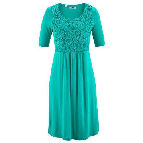 Sukienka z koronkową wstawką, krótki rękaw szmaragdowy, Bonprix, 36-58