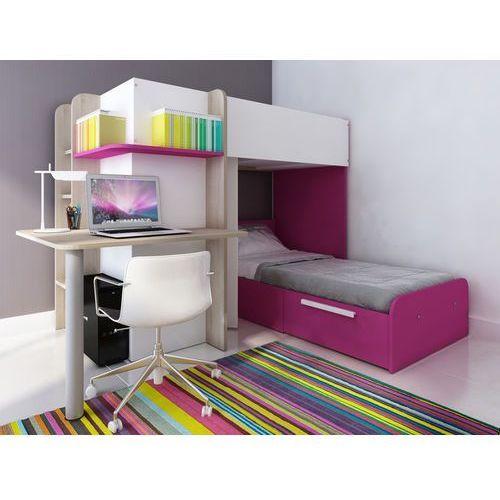 Vente-unique Łóżko piętrowe samuel – 2 × 90 × 190 cm – wbudowane biurko – kolor sosna biała i różowy