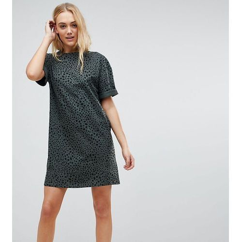 ASOS TALL Ultimate T-shirt Dress with Rolled Sleeves In Leopard Print - Multi