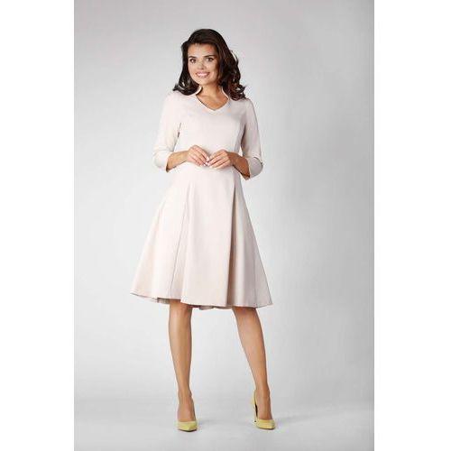399078b24f Beżowa sukienka rozkloszowana - sprawdź!