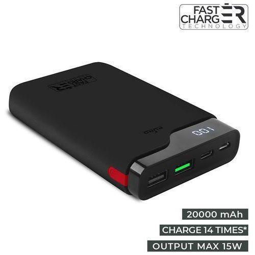 extra power type-c uniwersalny power bank 20000 mah 1x usb-c 2x usb 15w (czarny) marki Puro
