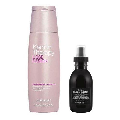 Alfaparf Keratin Therapy Maintenance and OI All in One Milk | Zestaw do wygładzenia i odżywienia włosów: szampon 250ml + mleczko 135ml