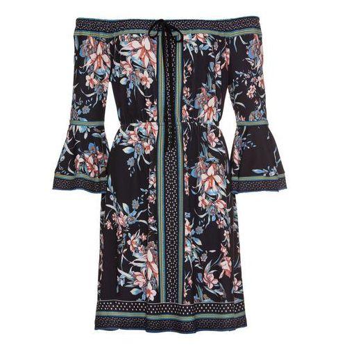 Sukienka dzianinowa bonprix bordowy wzorzysty