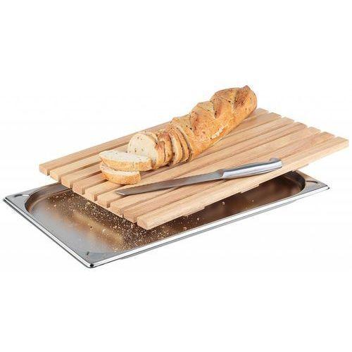 Deska prostokątna drewniana do krojenia pieczywa z tacą na okruchy | GN 1/1 | 530x325mm