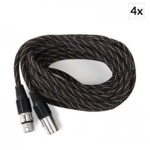 Kabel XLR komplet 4 sztuki6m czarno-złoty oplot tekstylny męski / żeński