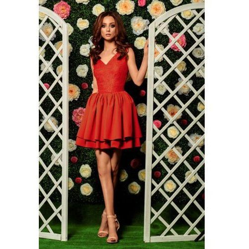 Wieczorowa sukienka mini z koronką l260 czerwony marki Lemoniade