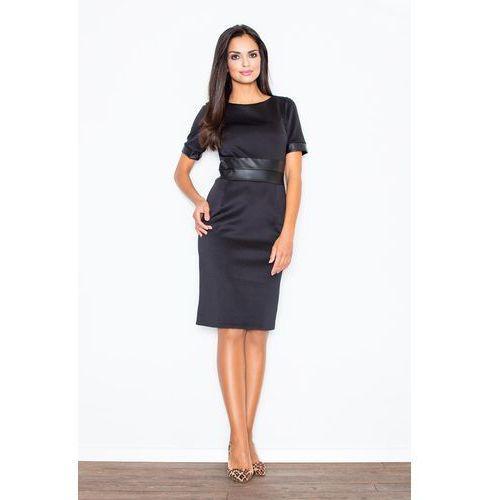 Elegancka czarna sukienka z połyskliwymi panelami, Figl, 34-42