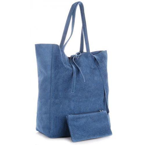 3072ce9e43a45 Modne torebki skórzane typu shopperbag z etui zamsz naturalny wysokiej  jakości ...