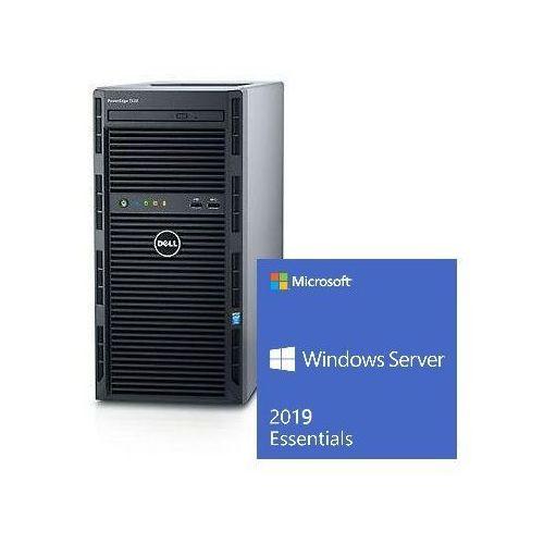 Serwer Dell T130 Xeon E3-1220v6 3.0GHz / RAM 8GB DDR4 / HDD 2x1000GB w Raid1 / 3Y NBD / Windows Server 2019 Essentials dla 25 uĹźytkownikĂłw / Zestaw!!!, 52557026PET130PL1WSE19