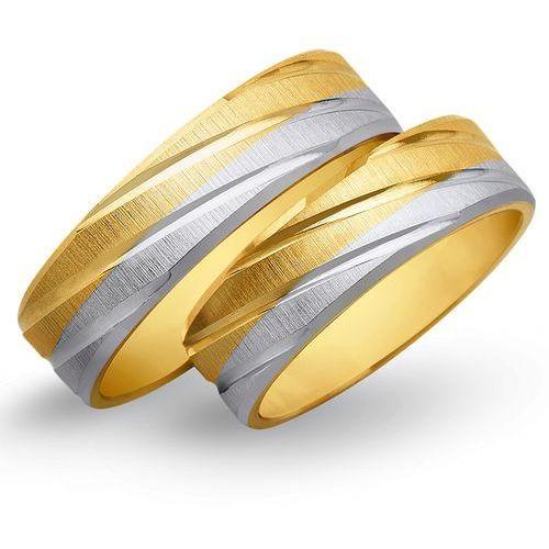 Obrączki z żółtego i białego złota 6mm - O2K/159 - produkt dostępny w Świat Złota