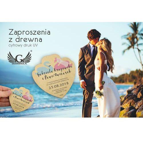 Zaproszenia ślubne z drewna - cyfrowy druk uv - zap005 marki Grawernia.pl - grawerowanie i wycinanie laserem