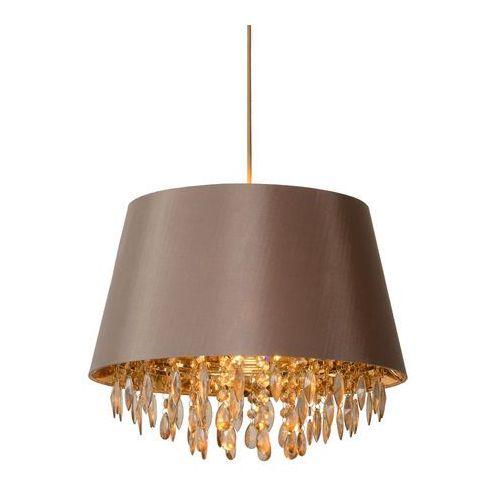 Dolti - lampa wisząca szarobrązowy/złoty przezroczyste kryształy Ø45cm marki Lucide