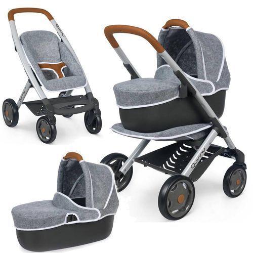 Smoby Wózek głęoboki dla lalek 3w1 Maxi Cosi Quinny filcowy Gondola Spacerówka