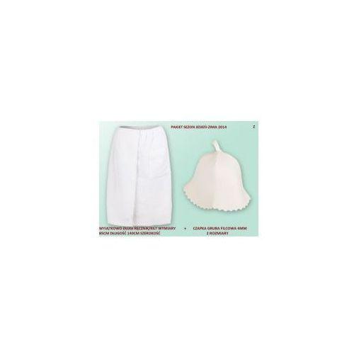 Kilt Ręcznik 85*140cm 100% Bawełna + Czapka biała do sauny gruba Z