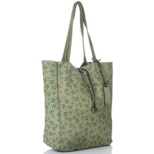 8dc846810 Włoskie Torebki Skórzane Ażurowany Shopper w stylu Vintage firmy Vittoria  Gotti wykonany z wysokiej jakości skóry naturalnej Zielone (kolory) 399,00  zł ...