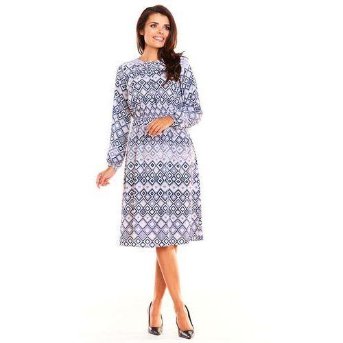 aa8feed750 Wzorzysta Kobieca Sukienka w Romby Midi z Długim Rękawem