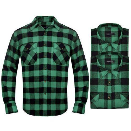 vidaXL 2 Męskie koszule flanelowe w zielono-czarną kratę rozmiar XL