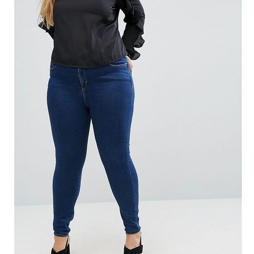 ASOS CURVE RIDLEY High Waist Skinny Jeans in Popular Deep Blue Wash - Blue, jeans