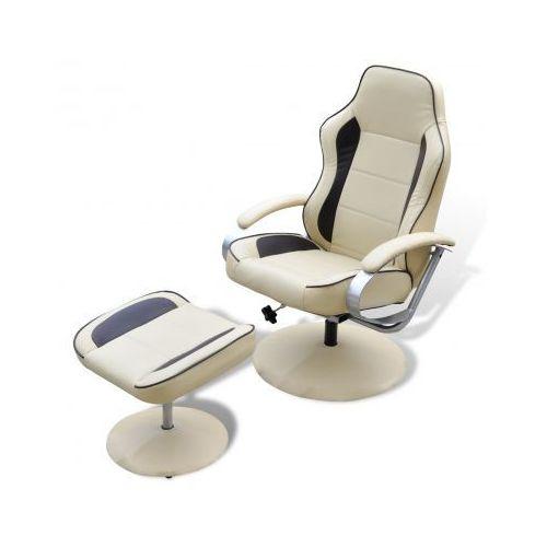 Odchylany fotel TV ze sztucznej skóry kremowy i brązowy z podnóżkiem - produkt z kategorii- fotele