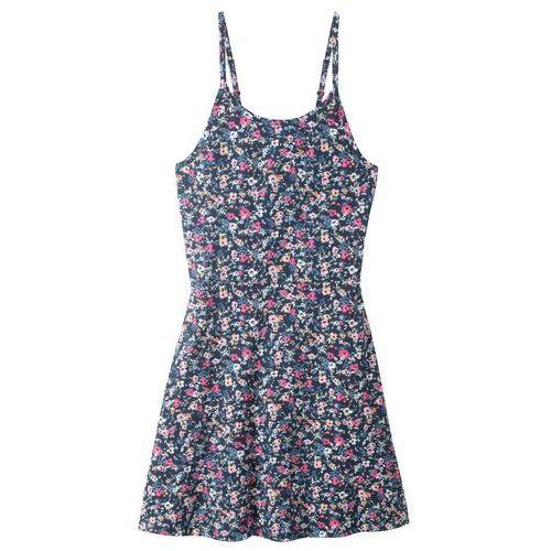 059e19a742 Sukienka shirtowa dziewczęca bonprix ciemnoniebieski w kwiaty 32