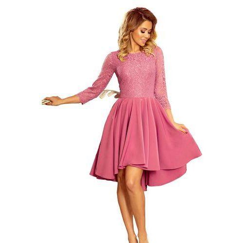 5b5891b095 Różowa Wieczorowa Rozkloszowana Sukienka z Koronką