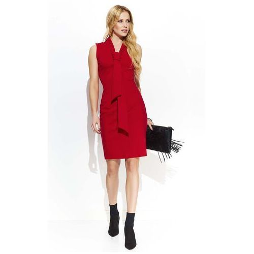 Czerwona elegancka ołówkowa sukienka z krawatką, Makadamia, 36-44