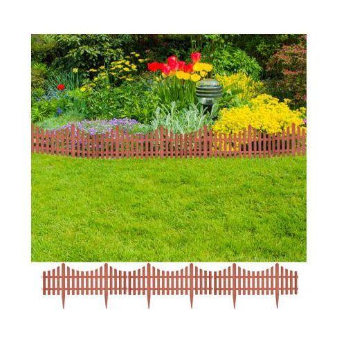 Brązowe ogrodzenie trawnika, 17 części / 10 m, produkt marki vidaXL