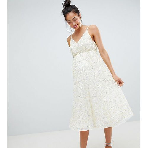 Asos maternity Asos design maternity delicate sequin midi plunge dress with full skirt - cream