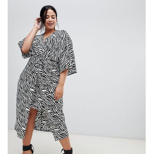 Asos curve Asos design curve kimono dress in midi length in zebra print - multi