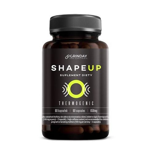 Grinday Shape up - termogeniczny spalacz tłuszczu. garcinia cambogia, guarana, pomarańcza gorzka, pokrzywa indyjska, papryka roczna, kofeina bezwodna, l-karnityna, l-tyrozyna