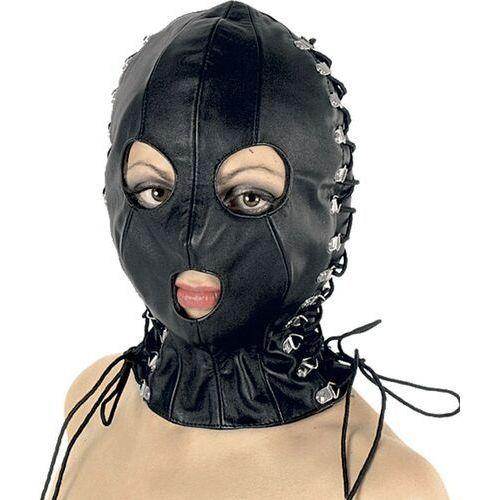 Skórzana maska ze sznurowaniami (3 kolory), Kolor: Czerwony, Rozmiar: U (5907814885920)