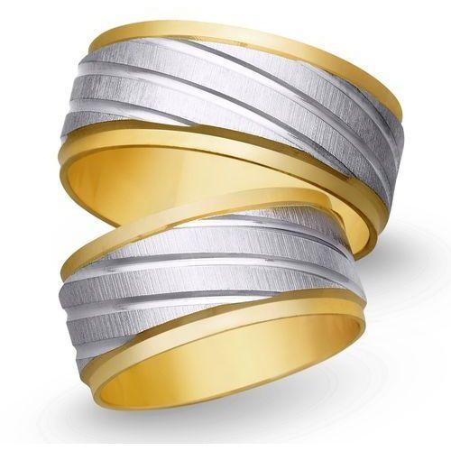 Świat złota Obrączki ślubne z żółtego i białego złota 9mm - o2k/044