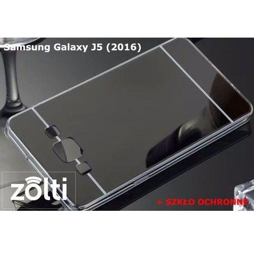 Zestaw | Slim Mirror Case Czarny + Szkło ochronne Perfect Glass | Etui dla Samsung Galaxy J5 (2016), kolor czarny