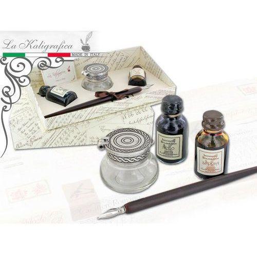 Zestaw piśmienniczy - pióro + kałamarz + atramenty