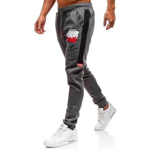 Spodnie męskie dresowe joggery grafitowe denley am033 marki J.style
