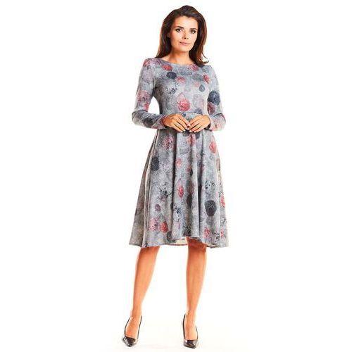 1a845a81c3 Szara Wizytowa Rozkloszowana Sukienka Midi w Liście