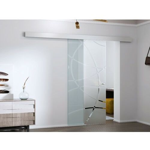 Naścienne drzwi przesuwne heidi — 205 × 73 cm (wys. × szer.) — szkło hartowane marki Vente-unique