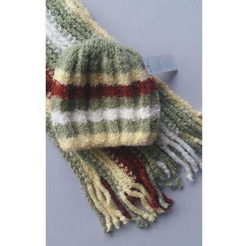 Komplet dziewczęcy czapka i szalik w paski 24h 36/38, mix kolor., 36/38, uniwersalny