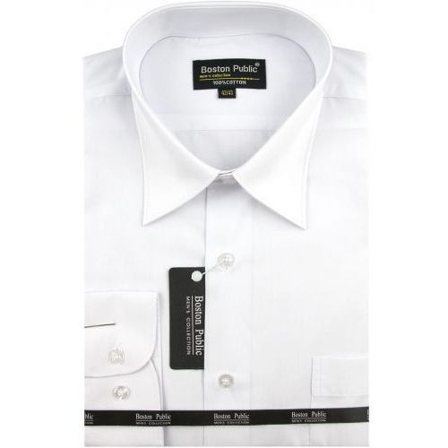 Koszula męska gładka biała na długi rękaw d698, Boston public